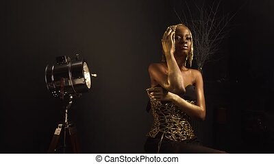 Creative luxurious portrait of sexy african american female...