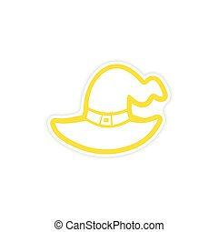 icon sticker realistic design on paper Witch and 39;s hat -...