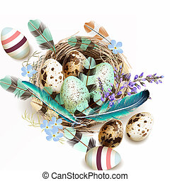 Vector illustration with Easter eggs bird nest feathers in...