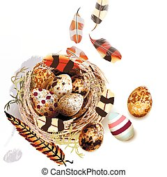 Easter vector background with realistic bird nest eggs and...