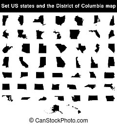 set of US states maps vector - vector illustration vector...