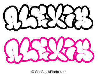 the name Alexis in graffiti style