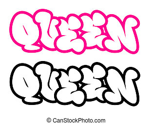 the word queen in graffiti style