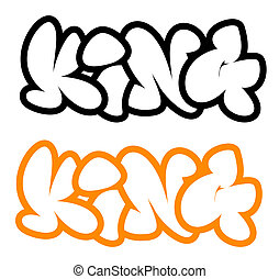 the word king in graffiti style
