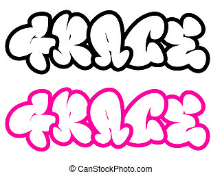 the name Grace in graffiti style