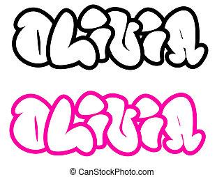 the name Olivia in graffiti style