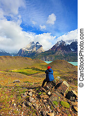 Woman - photographer - Strong winds in the Chilean Patagonia...