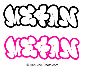 the name Megan in graffiti style