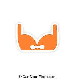 icon sticker realistic design on paper brassiere