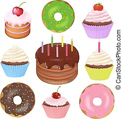 Big Set Of Cakes With Gradient Mesh, Vector Illustration