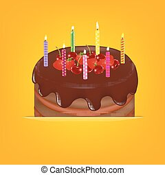 Happy Birthday Card With Gradient Mesh, Vector Illustration