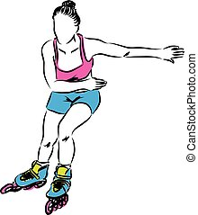 woman rollerblade skater illustration