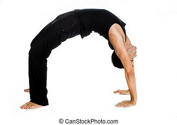 Athletic Man - An athletic man contorting and bending over...