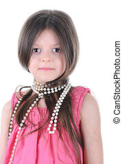 Little girl with a pearl beads