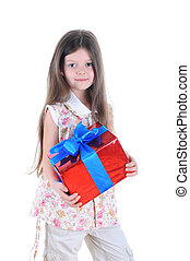 Little girl with a gift box