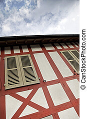 Old timbered house - Facade of an old timbered house in...