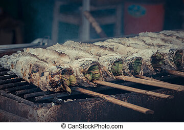 Grilled fish at the market