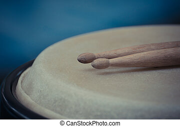 Drum leather and drum stick - Drum make by leather and drum...