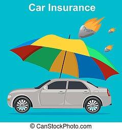 car insurance concept, umbrella