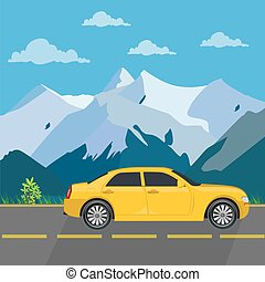 Car travel concept, vector