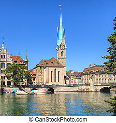 Fraumunster cathedral in Zurich - Fraumunster cathedral in...