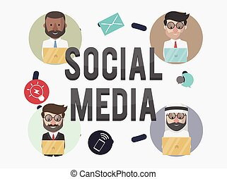 social media team business illustra - person holding laptop...