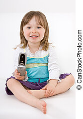 little girl with mobile phone - sweet happy little girl with...