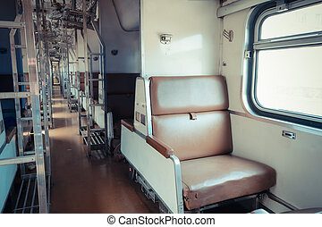 Cabin of Thai train - Cabin of a Public Thai Train Railway...