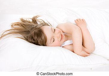 little girl sleeping - sweet happy little girl sleeping