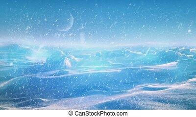 Snowy Alien Planet With Glowing Rad - Beautiful snowy alien...