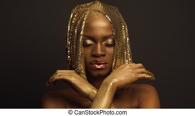 Surreal Fashion Portrait of African American Female Model...