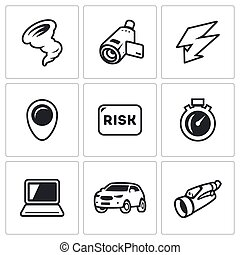 Vector Set of Tornado Icons Vortex, Video camera,...