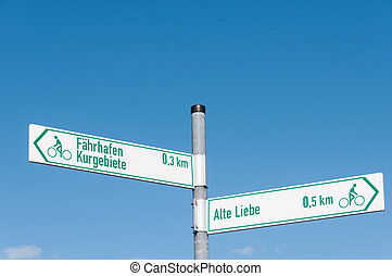 Signs Alte Liebe Faehrhafen - Signs that show the way for...