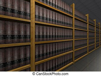 Law Books - Illustration of lots of law books
