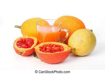 Gac, fruta, bebê, jaca, e, suco,