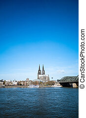 View on Cologne Cathedral and river Rhine, Germany