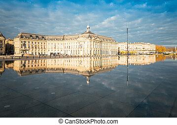 Street view of Place De La Bourse in Bordeaux city, France...
