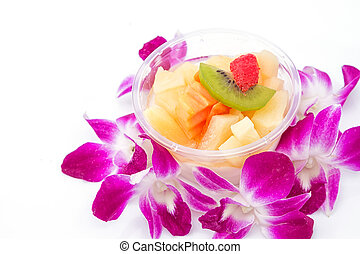 Fruit cocktail, isolated on white