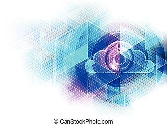 Abstract cloud technology in the future background, vector illustration