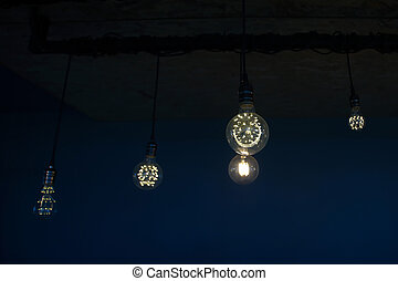 decorative antique tungsten light bulbs hanging on ceiling