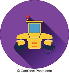 Icon of road roller. Flat design. Vector illustration.