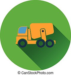 Icon of Concrete mixer truck Flat design Vector illustration...