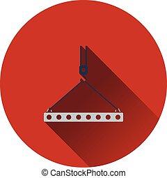 Icon of slab hanged on crane hook by rope slings Flat design...