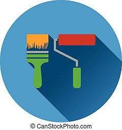 Icon of construction paint brushes Flat design Vector...