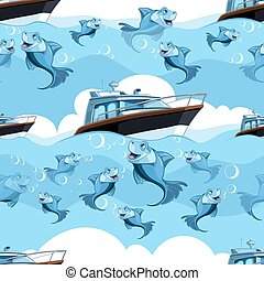 seamless pattern with blue fish and yacht in the sea