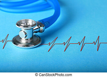 Stethoscope. - Stethoscope and heart diagram over blue...