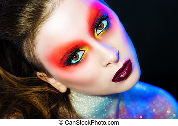 Model with a  fantasy make-up