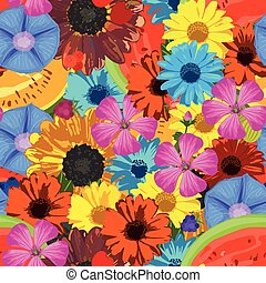 Seamless background with flowers and fruits Vector...
