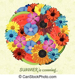 Summer is coming background with flowers and fruits. Trendy...