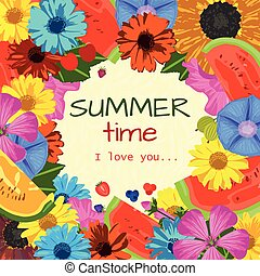 Summer time background with flowers and fruits. Trendy...